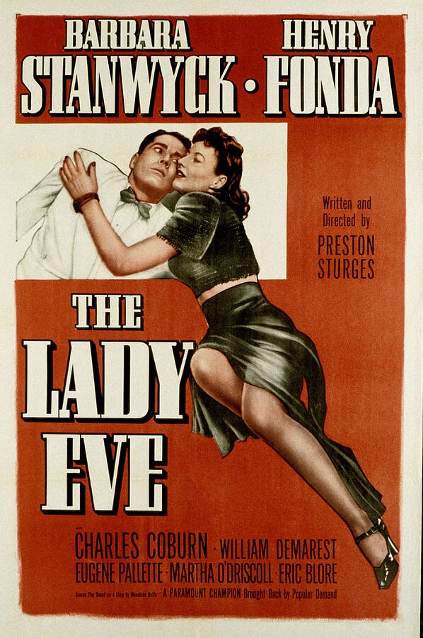 Poster for The Lady Eve, romantic film choice by Arcade Arkadina