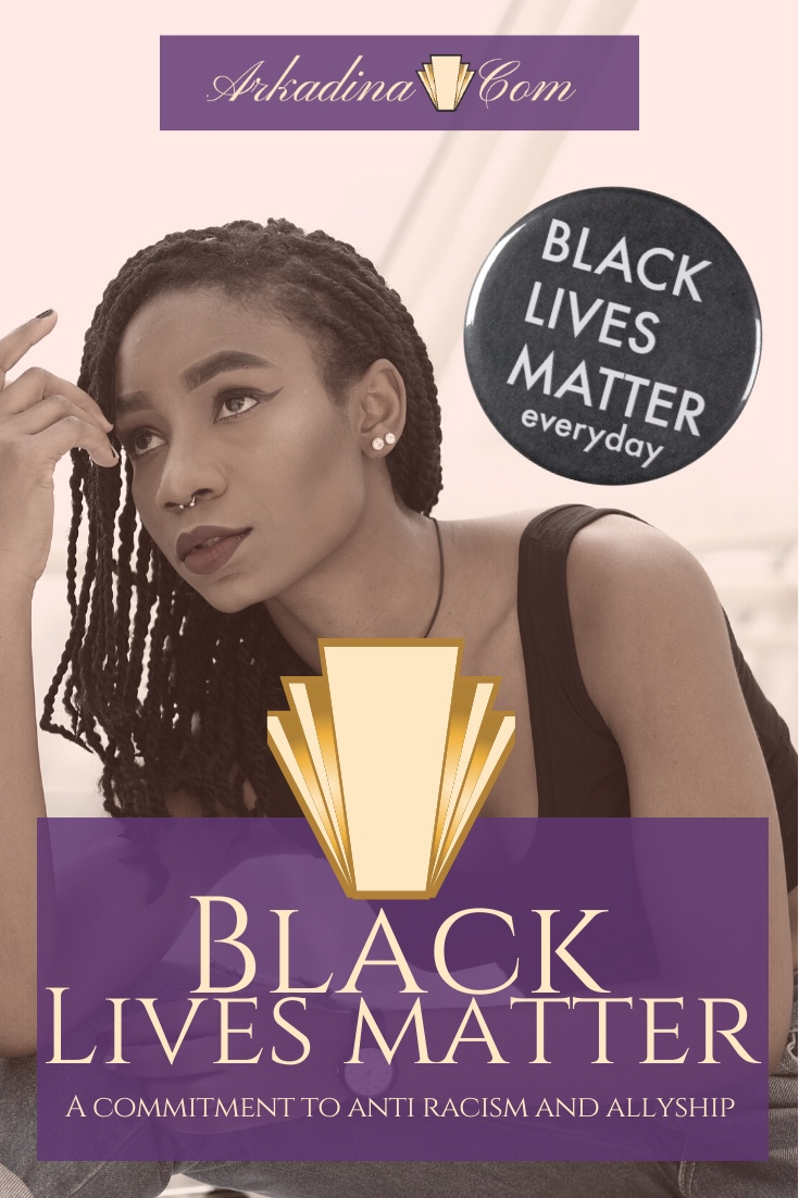Black Woman Staring into distance with Black Lives Matter sticker in sky - Arkadina.com Black Lives Matter post image